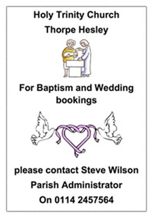 Poster advertising Baptisms and weddings